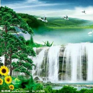 壁纸 风景 国画 旅游 瀑布 山水 桌面 300_300